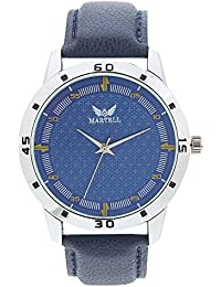 Martell - Doran Series Round Blue Dial Leather Strap Analog Watch For Men/Boys