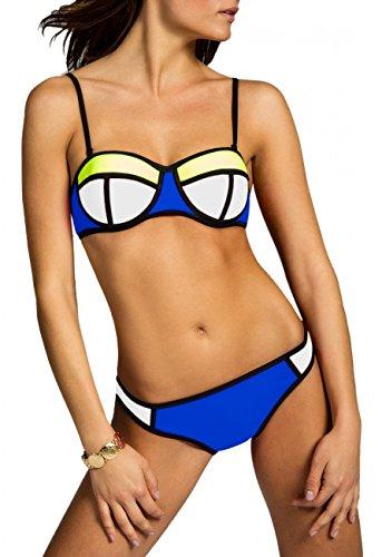 CASPAR BIK005 Damen Bandage Bikini Set , Farbe:weiss-neon gelb / blau;Größe:36 S...