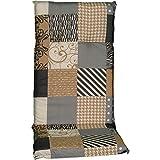 nxtbuy Gartenstuhl-Auflage Barcelona 118x50 cm Coffee Patchwork 6er Set - Hochlehnerauflage für...