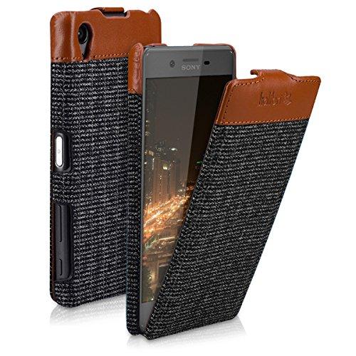 kalibri-Flip-Case-Hlle-Emma-fr-Sony-Xperia-X-Aufklappbare-Stoff-und-Echtleder-Schutzhlle-Tasche-im-Flip-Cover-Style-in-Braun-Anthrazit