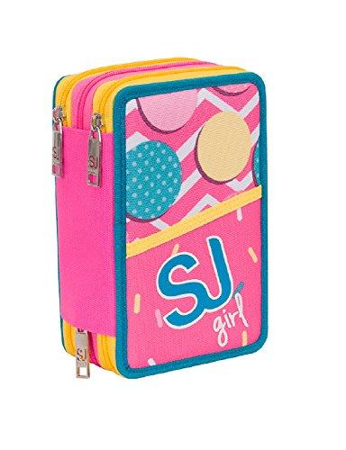 31dc89f7dd ASTUCCIO scuola SEVEN - SJ GANG GIRL - 3 scomparti - pennarelli matite ecc..  Rosa Azzurro