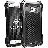 Galaxy S7 Edge Coque, Urcover Outdoor Armor Case Samsung Galaxy S7 Edge Étui Protection Alu Bumper Noir Look Carbone Housse Robuste Antichoc Case