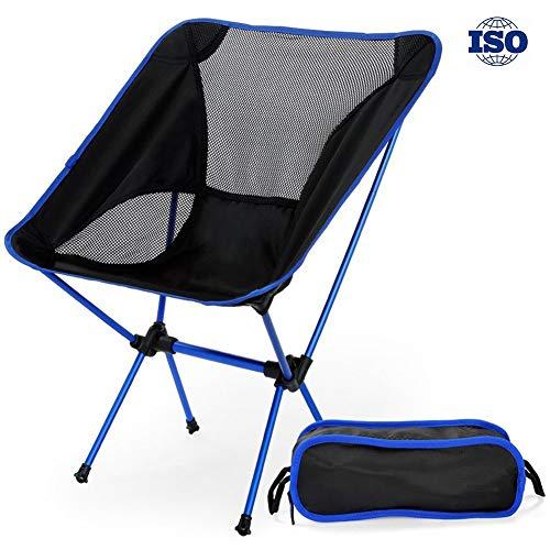 Risilays sedia pieghevole per campeggio, sdraio in spiaggia, portatile sedie pieghevoli ultraleggero pesca sedie sdraio in spiaggia pesca,all'aperto, picnic con borsa - lega di alluminio (blu reale)