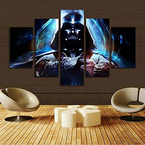H.COZY stampa decorazione moderna arte della parete Stormtrooper di Star Wars film parete del manifesto della pittura d'arte 5 pannello su tela (Senza telaio) Senza cornice far41 50 pollici x30 pollici