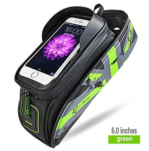 RUIX Fahrradtasche Frontstrahl Paket Reitschlauch Tasche Handy Wasserdichte Satteltasche Mountainbike Zubehör und Ausrüstung,Green