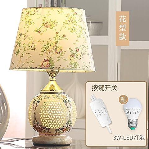 XHOPOS HOME Tischlampe Tischleuchte Keramik LED ein Schlafzimmer ein Wohnzimmer ein Bett Lampen Blume Druckschalter-LED