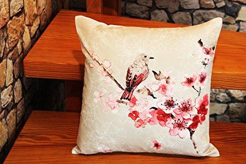 Kamaca Serie Oiseau et Fleurs, Polyester, Blanc/Multicolore, Kissenbezug 40 cm x 40 cm Beige