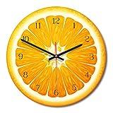 Teabelle Reloj Pared Forma de Fruta Creativo Reloj Moderno decoración de hogar Sala de Estar Cocina Comedor Dormitorio decoración Adorno de Oficina habitación Reloj acrílico silencioso(Naranja)
