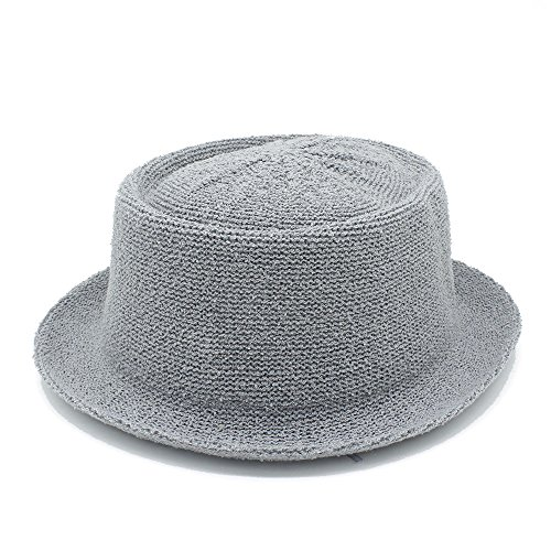 Preisvergleich Produktbild HBR Sommer Frauen Männer Dad-Pork Pie Quaste Strand Hut Panama Hut Bast Sonnenhut für Herren mit Dad boater Fedora Hut,  grau,  55-58 cm