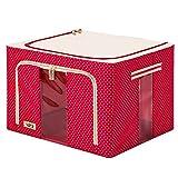 Kleidung Aufbewahrungskiste Stoff Mit Deckel Aufbewahrungskiste Oxford-Textil Falten Aufbewahrungskiste 66L,Red