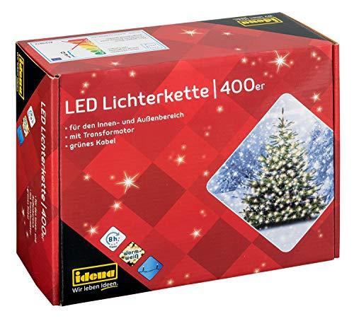 Idena 31123 - LED Lichterkette mit 400 LED in warm weiß, mit 8 Stunden Timer Funktion, Innen und Außenbereich, für Partys, Weihnachten, Deko, Hochzeit, als Stimmungslicht, ca. 47,9 m