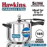 Hawkins Stainless Steel Pressure Cooker, 5 litres