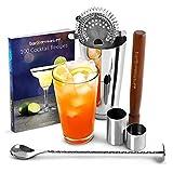 Startseite Cocktail Set Cocktail-Buch der Bar @ Getränk stuff | Cocktail Set Edelstahl - bestehend aus Edelstahl Mixbecher mit Boston Zinn und Glas, Cocktail Book (in Englisch), Hawthorne Cocktailsieb, ram, Verdreht Bar Löffel, 25ml und 50ml Thimble Jigger