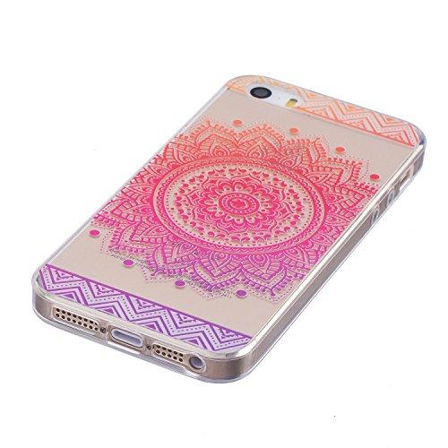 Pour iPhone 5 5S 5G / iPhone SE Case Cover, Ecoway TPU Clear Soft Silicone motifs peints Housse en silicone Housse de protection Housse pour téléphone portable pour iPhone 5 5S 5G / iPhone SE - Fleurs Fleur rouge Rose Mandala
