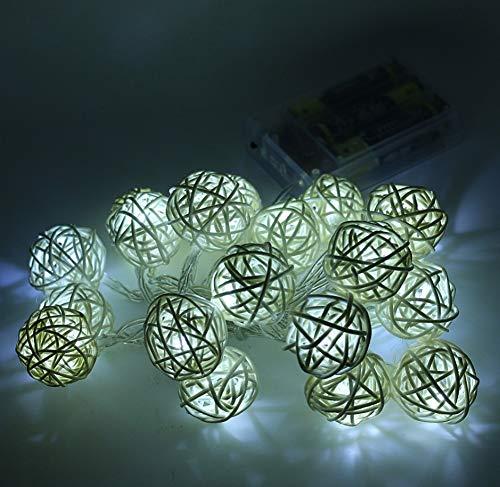 Tira iluminación romántica bola ratán Tira luz