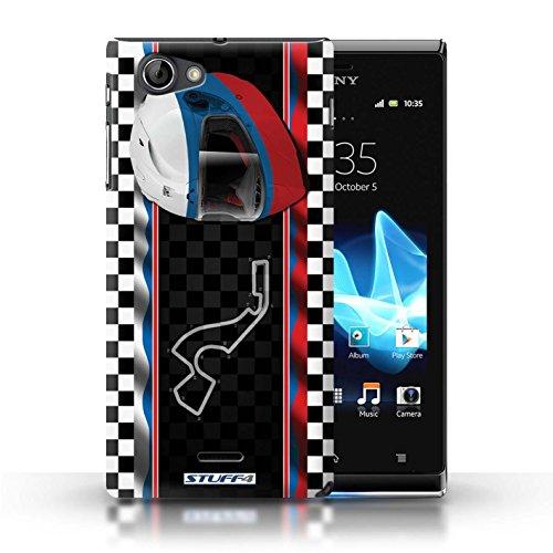 Kobalt® Imprimé Etui / Coque pour Sony Xperia J (ST26i) / USA/Austin conception / Série F1 Piste Drapeau Russie/Sochi