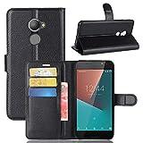 Vodafone Smart N8 Handyhülle Book Case Vodafone Smart N8 Hülle Klapphülle Tasche im Retro Wallet Design mit Praktischer Aufstellfunktion - Etui Schwarz