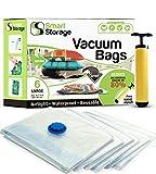 6 Stück Vakuum Aufbewahrungsbeutel | Platzsparendes Set | Vakuum-Beutel mit Pumpe für unterwegs | Vakuum-schießende Beutel für Kleidung, Bettwäsche & auf Reisen | Funktioniert mit jedem Vakuumierer |