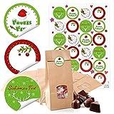 48 kleine weihnachtliche Kraftpapier Tüte braun mit Boden Fenster Pergamin-Einlage 10,5 x 6,5 x 29 cm + 48 runde Weihnachts-Aufkleber rot weiß grün Frohes Fest Geschenk-Verpackung Beutel