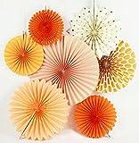 Sunbeauty Serie de Naranja Paquete de 7 Abanicos Decoración para Boda Cumpleaños Fiesta Celebración Santa Semana San Valentín Ceremonia Halloween