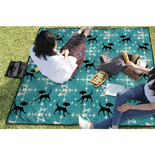"""BigHappyShop Picnic Blanket Atomic Dogs, Boomerangs, U Starbursts Waterproof Extra Large Outdoor Mat Camping Or Travel Easy Carry Compact Tote Bag 59\""""x57\"""""""