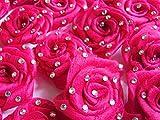 Anshartandcraft Satin Ribbon Rose Flower With Stone: 24 Pcs Pkt (Satin Flower DPink)