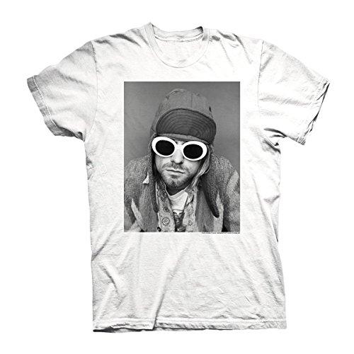 Kurt Cobain Herren T-Shirt Sonnenbrille weiß. Offiziell lizenziert