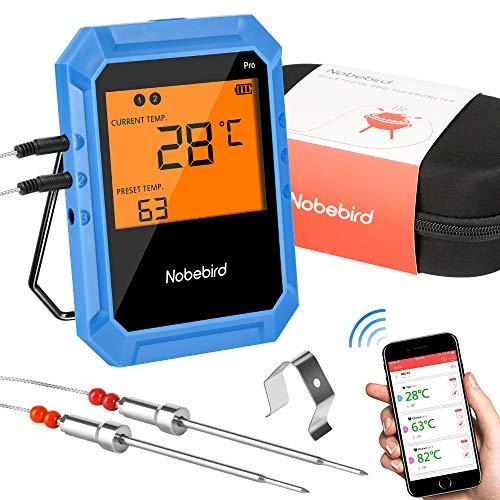 Bratenthermometer Drahtloses Fleischthermometer, Bluetooth-Kochthermometer mit 2 Edelstahlsonden, Grillthermometer zum Grillen des Räucherküchenofens, iOS- und Android-Unterstützung (inkl. Box) (blau)