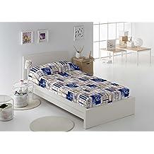 Martina Home. Edredón ajustable con motivos marineros.En tonos azul y beige. Para cama de 90 cm. (190x270 cm) Exterior 50% algodón 50% Poliéster. Relleno 100% Poliéster