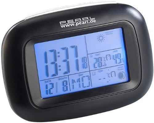 PEARL Funk-Thermo-Hygrometer: Kompakte Digital-Wetterstation mit Funkuhr, Weckalarm & Wetterprognose (Funk-Wetterstation mit Funk-Uhr)