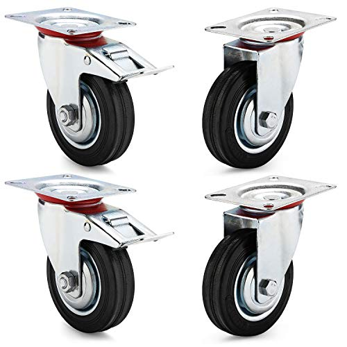 AMIGOB 4 Stück 100mm Transportrollen Lenkrollen mit Bremse Schwerlastrollen; 2x Lenkrollen + 2x Lenkrollen mit Bremse;Tragfähigkeit 70KG/Rolle Schwarz Gummi Stahlblech Kapazität 210kg insgesamt