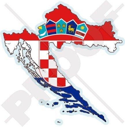 KROATIEN Kroatische Karte Flagge HRVATSKA 100mm Auto & Motorrad Aufkleber, Vinyl Sticker