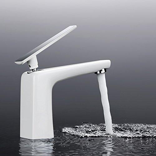 Homelody - Moderne Waschbeckenarmatur, Einhebelarmatur, Keramikkartusche, Perlator, Weiß-Chrom