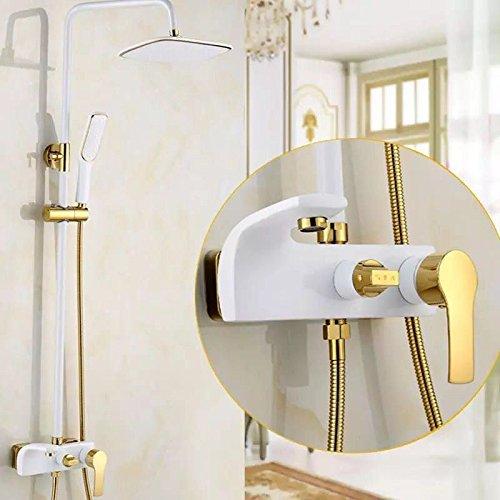 In Der Badewanne (MEIBATH Waschtischarmatur Badezimmer Waschbecken Wasserhahn Küchenarmaturen Weiß Dusche in die Wand der Badewanne Set Messing Duschen Küchen Wasserhahn Badarmatur)