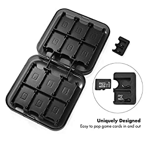 Nintendo Switch 24-in-1 Game Card Storage Box, Sunix Game Card Case with 2 TF Cards Holders for Nintendo Switch Game Cards Black