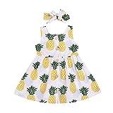 Baby Mädchen Kleid mit Obst Ananas Bedruckte, KIMODO Kleinkind Ärmellos Urlaub Sommer Strandkleid Party Prinzessin Kleidung Outfit + Stirnband Set