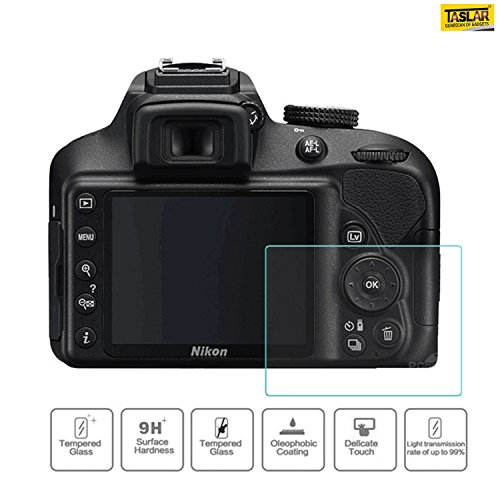 Taslar™ Glass Screen Protector for Nikon D3400 D3300 D3200 D3100 DSLR Camera, Anti-Bubble Anti-scratch Anti-fingerprint Ultra-clear 9H Tempered Glass Shield,(Transparent)  available at amazon for Rs.599