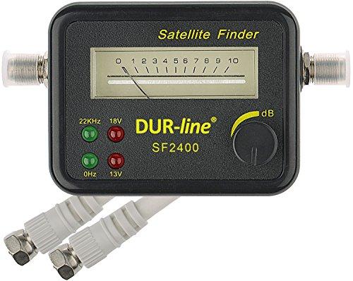 DUR-line® SF 2400 - Satfinder - Messgerät zur exakten Justierung Ihrer Digitalen Satelliten-Antenne - mit hoher Eingangsempfindlichkeit - inkl. F-Kabel