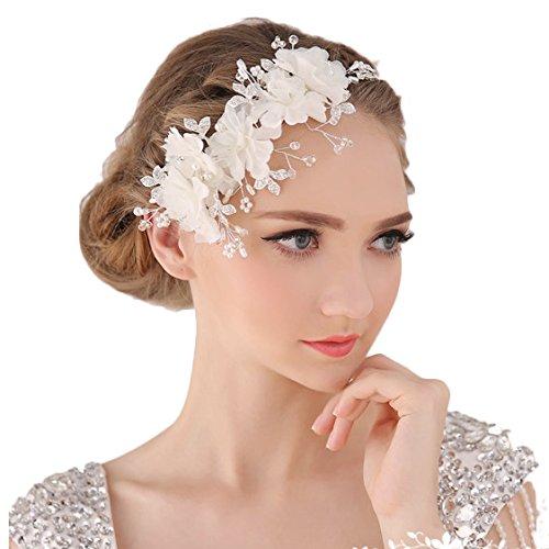 Miya® 1Stück MEGA Glamour Haarband Haarreif mit super schöne sanft Tüll Blumen, Spitzen Lace Blumen mit klare Kristall Perle, Braut Schmuck Hochzeit Jugendweihe Haarschmuck (cc1)