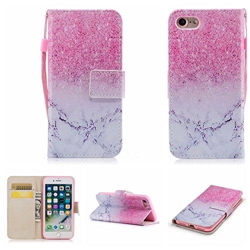 Linvei iPhone 7(4.7inch) Coque,Etui Anti Chocs Back Cover Bumper Case Anti Scratch Shock Absorption for Apple iPhone 7(4.7inch)-Conception de fleurs de prunier Glitter rose et marbre blanc