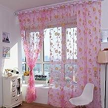Tongshi Ventas calientes! Impresión caliente cortina floral Pantallas dormitorio principal cortina 200x100cm (rosa)