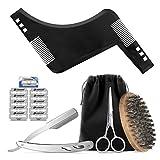 Hifot Kit de toilettage barbe 5pcs, Jeu de coupe barbe pour hommes soins, barbe modèle de peigne, brosse à poils de sanglier, rasoir barbe en acier inoxydable, ciseaux et 10 lames cadeau