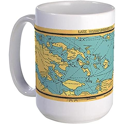 CafePress - Panoramic 1911 Lake Winnipesaukee Map Large Mug - Coffee Mug, Large 15 oz. White Coffee Cup by CafePress