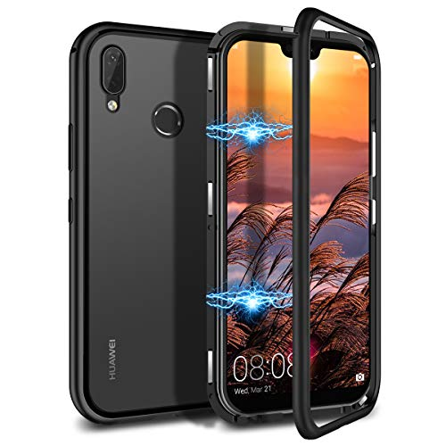 CE-Link Kompatibel mit Huawei P20 Lite Hülle Glas mit Magnetisch Panzerglas Rückseite Durchsichtig Handyhülle Transparent Hard Case Ultra Slim Dünn 360 Grad Full Body - Schwarz - Ultra-slim-link