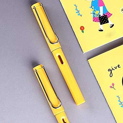 Cadeau de fête des pères Stylo-plume et cartouche Stylo à la plume Stylo à calligraphie Les étudiants utilisent des hommes et des femmes Just Pen Office Use,Yellow,0.38mm
