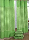 Homescapes Kindervorhang Junge Kinderzimmer Ösenvorhang Dekoschal Stars 2er Set grün 137 x 228 cm (Breite x Länge je Vorhang) 100% reine Baumwolle