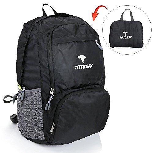 Imagen de totobay 33l  plegable ultra ligera portatil impermeable anti desgarro y anti punción para viajes trekking camping senderismo ciclismo deportes exterior negro