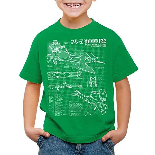 style3 74-Z Speeder Bike T-Shirt für Kinder blaupause endor, Farbe:Grün;Größe:164