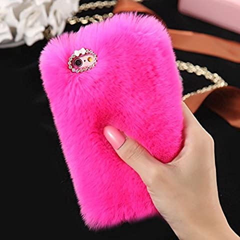 iPhone 5S/SE Case, FLOVEME [Imitation Rabbit Hair ] [Washable] [Adorable Case] [Ultra Soft ] Fluffy Villi Faux Fur Plush Protective Phone Cover,Cute Case for iPhone 5S/SE - rose red