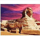 LIWEIXKY Rahmenloses Ölgemälde Pyramide-Sphinx-Altes Ägypten DIY, Das Durch Zahlleinwandmalerei Für Wohnzimmer Zeichnet 40X50Cm